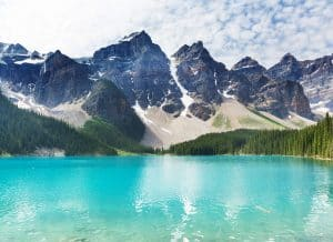 peaceful and tranquil image of Moraine Lake in Banff, Alberta